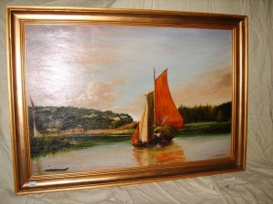 Oil painting, Wherry on The River Yare