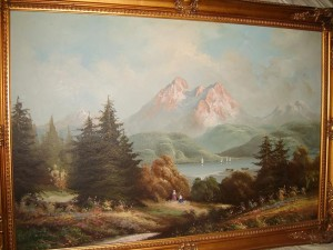 Oil Painting of Mountain and Lake Scene