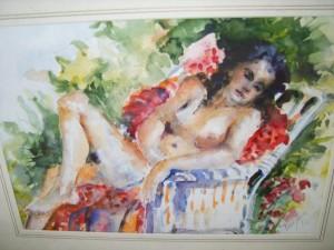 Nude Sunbather Water Colour,