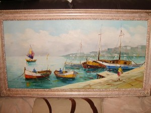 Continental Harbour Scene, Oil Painting, Cecil Rochfort D'Oyly John