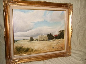 Oli Painting, Rural Landscape Scene, Harvest Time.