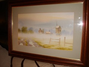 Water Colour by Nick Grant, Old Woodhouse Mill, Leicestershire