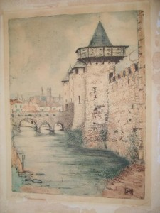 Coloured Etching of Castle Walls and Moat by Margaret Aulton