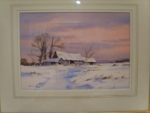 Denis Pannett, Water Colour, Barn in the Winter Snow
