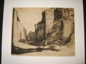 Signed Etching,  J. Wright, Earthquake Damage Messina, C.A.Hunt