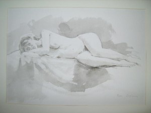 Tom Esplin Water Colour Painting of Nude Young Lady