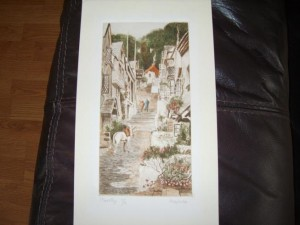 Clovelly, Devon, Coloured Etching