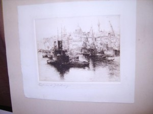 Edward Cherry, Signed Etching, The Pool of London