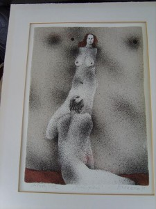 Nude, Sexy, Erotic, Coloured Lithograph