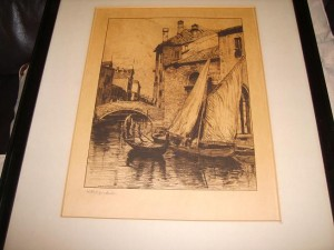 Venetian Scene, Via Camillo, Signed Etching
