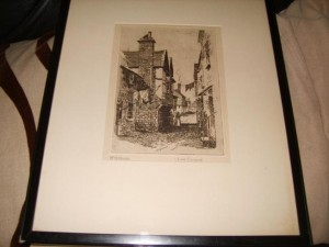 Signed Etching, Looe, Cornwall, W.A. Moody