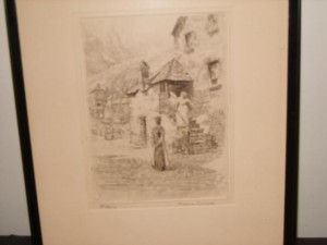 Signed Etching, Polperro, Cornwall, William a. Moody