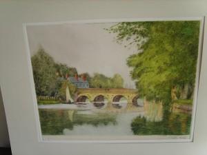 William Tatton Winter, Signed Coloured Etching, Harnham Bridge, Salisbury