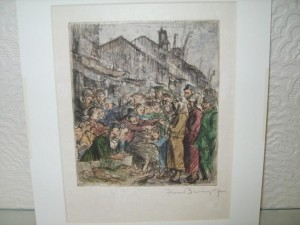 Frank Brangwyn, Coloured Etching, Mid Eastern Market Scene