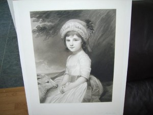 Victorian Engraving, Shepherdess and Lamb