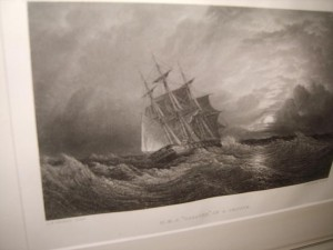 Engraving, Antique, H.M.S. Galatea, At Sea.
