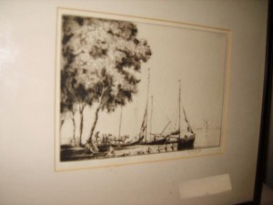 Barges on a River, Martin Hardie Etching.