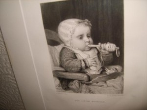 The Little Musician, Antique, Engraving.