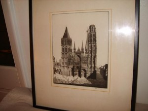Reims Cathedral, Etching, Herbert Gordon Warlow.