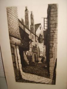 Etching, Carnglaze Street, St. Ives, Ernest George