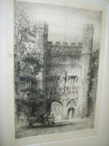 James Alphege Brewer, Trinity College, Cambridge, Etching.