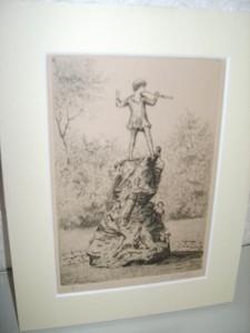 Peter Pan Statue, Kensington Gardens, London, Etching