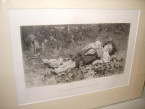 Antique Engraving, Michetti, Varin, The Young Shepherdess of The Abruzzi