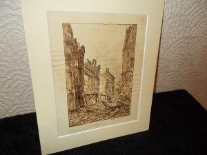 Edward Seago, Water Colour, War Time, Bomb Damage.