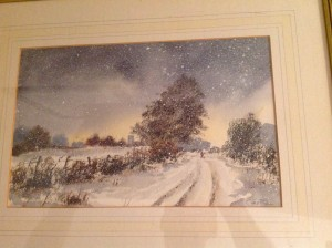 Water Colour, Snowy Landscape, Winter Scene.