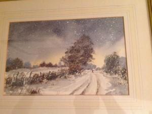 Water Colour, Snowy Landscape, Winter Scene.
