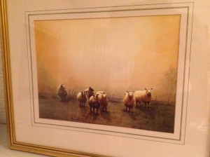 Water Colour, Sheep, Morning