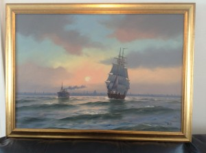 A Sailing Boat Oil Painting